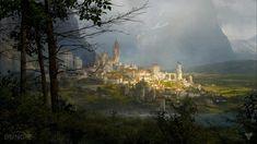 9RjQTov jpg 1366×768 Fantasy landscape Fantasy city Concept art world