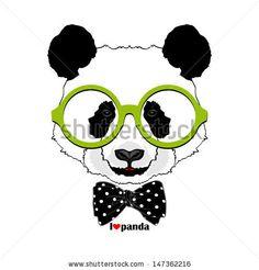 panda vector portrait, bear image, I love panda - stock vector