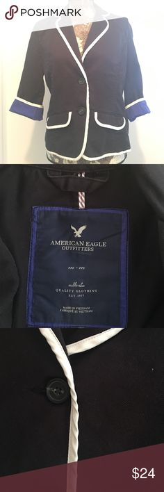 American Eagle Navy Blue Blazer Navy blue blazer with white piping and cobalt blue accents. Barely worn. American Eagle Outfitters Jackets & Coats Blazers