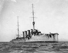 HMS Glasgow, British light cruiser at the Battle of the Falkland Islands on 8th December 1914