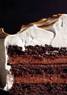 devil's food cake with black pepper italian meringue icing