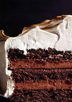 devil's food cake with black pepper italian meringue icing