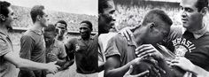 An emotive Pelé breaks in tears after the victory in the World Cup final of 1958