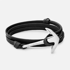 ANCHOR ON LEATHER BRACELET, SILVER-PLATED