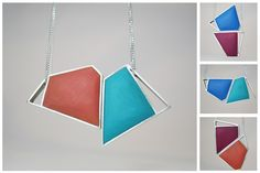 Angelina Jane- Contemporary geometric magnetic silver and resin necklace - customisable with up to 24 different colour/shape combinations