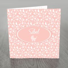 Birth announcement card with Iznik flower swirl pattern