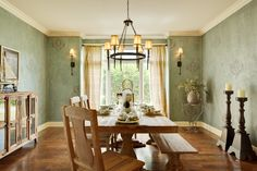 Furniture. Large Dining Rooms Endearing Large Dining Room Table Design Ideas With Rectangle Shape Wooden Brown And Combine Chairs Bench Also Laminated Color Floor Chandelier Sage Green Wall Paint Glass Windows Cream Curtains Candlesticks Storage Drawers Modern Dining Room Sets . Appealing Large Dining Room Tables Design Ideas