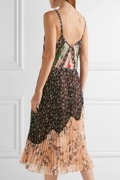 Jason Wu - Pleated Printed Crinkled-chiffon Dress - Black