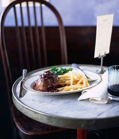 Steak with Bordelaise sauce, shoestring fries and watercress salad - Gourmet Traveller