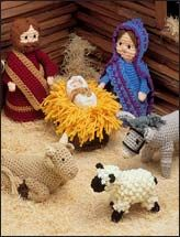 "Crochet Creche - Pattern included for Baby Jesus (3"" long), manger (3"" x 5""), Mary (9"" tall), Joseph (8 1/2"" tall), ram/ewe/lambs (range from 3 1/2"" tall to 5 1/2"" tall), donkey (5"" tall), and ox (4 1/2"" tall, sitting). Sizes are all approximate."