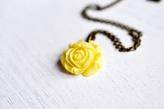 Sunshine Yellow Flower Necklace, Rose Flower necklace,Rose Bud Pendant, Mustard Yellow Jewelry, Bridesmaid Gift, Flower Blossom, Cabochon, Resin Flower, Bridal Wedding
