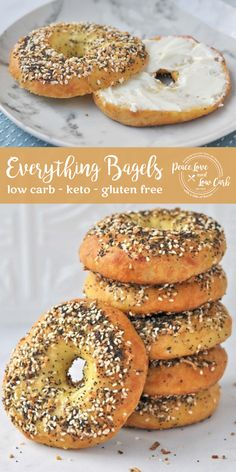 Starbucks Chonga Bagel Copycat Recipe - All the flavors of your favorite Everything Bagel, but without all the carbs and gluten. Low Carb Keto Everything Bagels Keto Bagels, Low Carb Bagels, Low Carb Bread, Keto Bread, Low Carb Keto, Low Carb Food, Low Carb Meals, Low Carb Bun, Gluten Free Bagels
