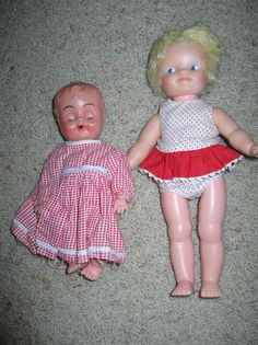 TWO VINTAGE DOLLS~SHIRLEY TEMPLE AND BLUE BOX LIGHT PLASTIC