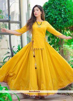 Yellow cotton dress skirt blouse galti mehendi wear indian outfit lehenga choli wedding dress - - Readymade dress Fabric cotton Suitable for indian occasions. Lehenga Choli Designs, Kurta Designs, Fancy Blouse Designs, Kurti Designs Party Wear, Crop Top Designs, Garba Dress, Navratri Dress, Lehnga Dress, Dress Skirt