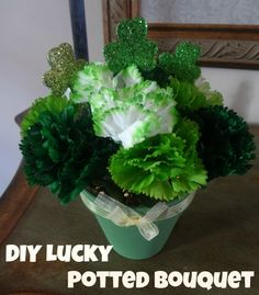 DIY Lucky Potted Bouquet - an easy way to add a splash of St. Patrick's Day charm to any room via www.jmanandmillerbug.com.