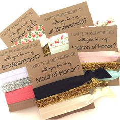 Will You Be My Bridesmaid Bridesmaid Hair Tie Favors Bridesmaid... ($3.50) ❤ liked on Polyvore featuring accessories, hair accessories, black, ties & elastics, black hair ties, black hair accessories, stretchy hair ties, stretchy headbands and vintage headbands