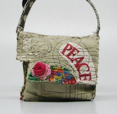 Reserved for Susan. Artsy Upcycled Handbag Festive Peace on Earth Fused Plastic, Fabric Bags, Tote Purse, Handmade Bags, Textiles, Bag Making, Purses And Bags, Crochet, Handbags