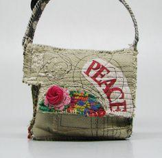Artsy Upcycled Handbag Festive Peace on Earth by itzaChicThing