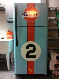 Post your garage art - Porsche-Gulf 917 beer fridge - Post your garage art – Porsche-Gulf 917 beer fridge – Pelican Parts Technical BBS - Man Cave Garage, Garage Art, Garage Shop, Garage House, Car Man Cave, Car Furniture, Automotive Furniture, Design Furniture, Beer Fridge