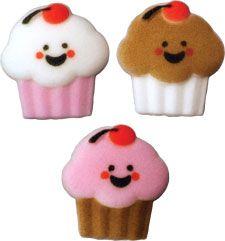 "Happy Face Cupcake Assortment. Molded Sugar. 1 1/2"" - Item #L46485. Certified Kosher."