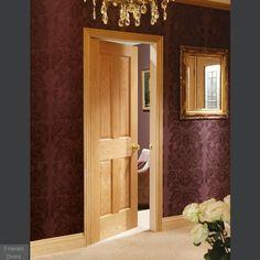 Wickes Cobham Internal Oak Veneer Door 4 Panel 1981 x Fire Rated Doors, Fire Doors, 4 Panel Internal Doors, Panel Doors, Veneer Door, Flat Interior, Interior Ideas, Oak Panels, Timber Door