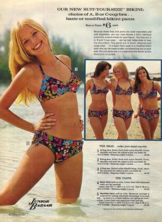 Sears catalog, 1972. I remember being so excited when these came out, because I was a different size top from bottom. Plus I had a humongous scar from an appendicitis surgery, and with these, I could adjust the bottoms to cover it up.