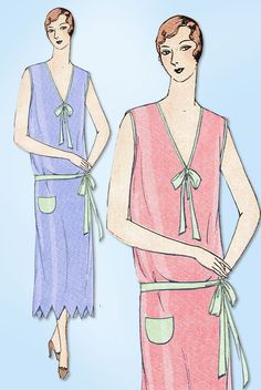 Ladies Home Journal Sewing Pattern 5851 Misses' Flapper Nightgown Pattern with Scalloped Edges Found in the Spring 1929 Catalog Auction Does Not Come with Catalog Pages Those are Digital Scans for You