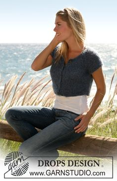 """DROPS short jacket with raglan and short sleeves in """"Symphony"""" ~ DROPS Design * I will have to try to create this with crochet.  so cute!"""