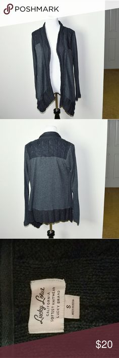Lucky Brand Lucky Love Grey Cardigan In excellent condition! Very comfortable, lightweight, and soft! Buy 3 items and get 1 free plus 15% off your purchase total! Lucky Brand Sweaters Cardigans