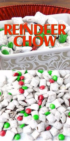 Reindeer Chow {Christmas Muddy Buddies} Make sure stops at your house by attracting reindeer! This Chow recipe turns the classic muddy buddies puppy chow into a Christmas treat that the kids will love. Kids Christmas Treats, Christmas Deserts, Christmas Party Food, Christmas Goodies, Holiday Desserts, Holiday Treats, Christmas Fun, Holiday Recipes, Recipes For Christmas Cookies
