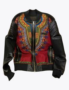 Leather Embossed African Wax Jacket | Alhassan Toure