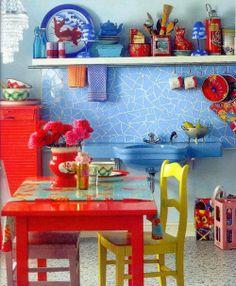 Cozinha colorida #kitchen.