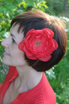 Red Peony Hair Flower Flower brooch Red wedding by IrisArtTextile