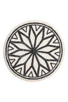 Jacquard-weave bath mat - Natural white/Grey - Home All | H&M GB