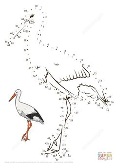 Stork dot to dot from Birds category. Select from 32012 printable crafts of cartoons, nature, animals, Bible and many more. Dots Game, English Teaching Materials, Educational Games For Kids, Bird Crafts, Montessori Activities, Free Printable Coloring Pages, Stork, Dot Painting, Fun Math