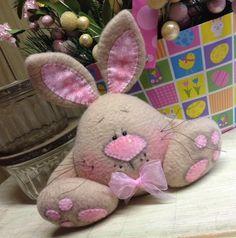 Primitive Raggedy HC Chubby Easter Bunny Egg Doll Rabbit Spring Shelf Sitter #IsntThatCute #Easter