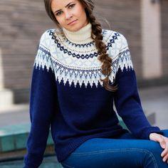 DG320-12 Flamingo genser denim | Dale Garn Sweater Fashion, Indigo, Knitting Patterns, Turtle Neck, Urban, Pullover, Denim, Sweaters, Retro