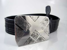 Intersections Belt Buckle  Etched Stainless Steel by RhythmicMetal, $60.00