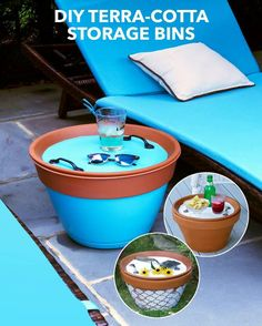 These DIY Terra-Cotta Bins Keep Outdoor Essentials Neatly Stowed - pool decor Pool Storage, Storage Bins, Outdoor Storage, Storage Ideas, Backyard Storage, Diy Storage, Handmade Home, Piscina Diy, Outdoor Projects
