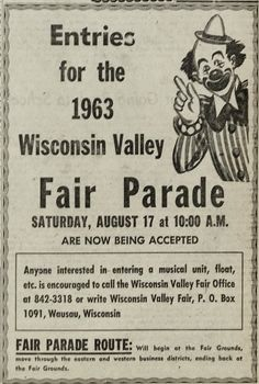 Aug. 2, 1963 - Wisconsin Valley Fair advertisement for parade entries.