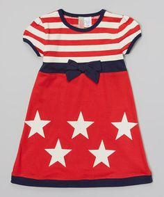 Red & White Stripe Star Babydoll Dress - Toddler & Girls #zulily #zulilyfinds