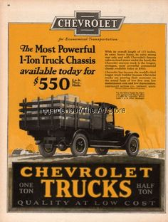 1926 Chevrolet 1-Ton Truck Chassis Stake Body $550 Chevy Logo General Motors Ad