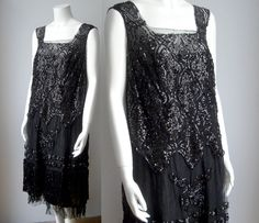 1920s dress / beaded 20s dress / black beaded dress. £220,00, via Etsy.
