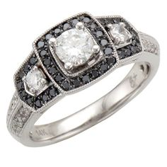 14k Gold 7/8ct TDW Black and White Diamond Halo Engagement Ring (I-J, I1-I2, Black)
