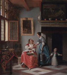 Artist Pieter de Hooch (1629–after 1684) Description English: Woman hands over money to her servant Date1670