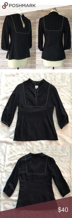 """Nancy Rose Silk Blend Blouse THORN Blouse by NY Designer Nancy Rose in a Size 4. Side zip; split neck; silver beadwork ; 3/4 sleeves. Excellent /like new Condition 63% Rayon & 20% Silk & 17% Acetate.  Length: 25""""  Bust: 17"""" Nancy Rose Tops Blouses"""