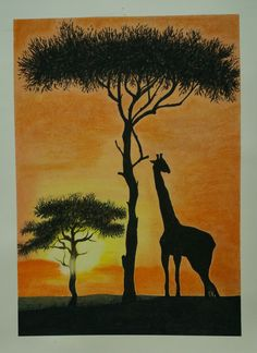 charcoal and dry pastel drawing of Giraffe in Africa at sunset with the frame by ssamsami on Etsy