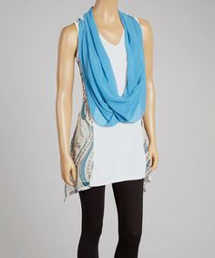 Another great find on #zulily! Turquoise & Cream Silk-Blend Drape Tank & Vest by Pretty Angel #zulilyfinds