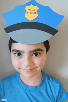 This Paper Police Hat Craft is a fun activity as we get ready for Law Enforcement Appreciation Day or when we talk about careers in our community. Learning Games For Kids, Creative Activities For Kids, Preschool Learning Activities, Preschool Themes, Preschool Classroom, Preschool Art, Classroom Activities, Preschool Activities, Creative Kids