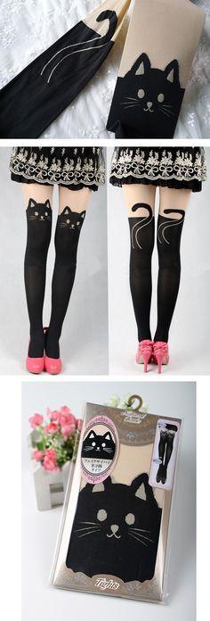 dd17bd5848caf Details about Women Sexy Cat Cute Tail Gipsy Mock Knee High Socks Hosiery  Tattoo Leggings Envy